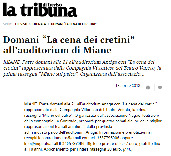 Tribuna di Treviso 13 aprile 2018, parlano di noi!