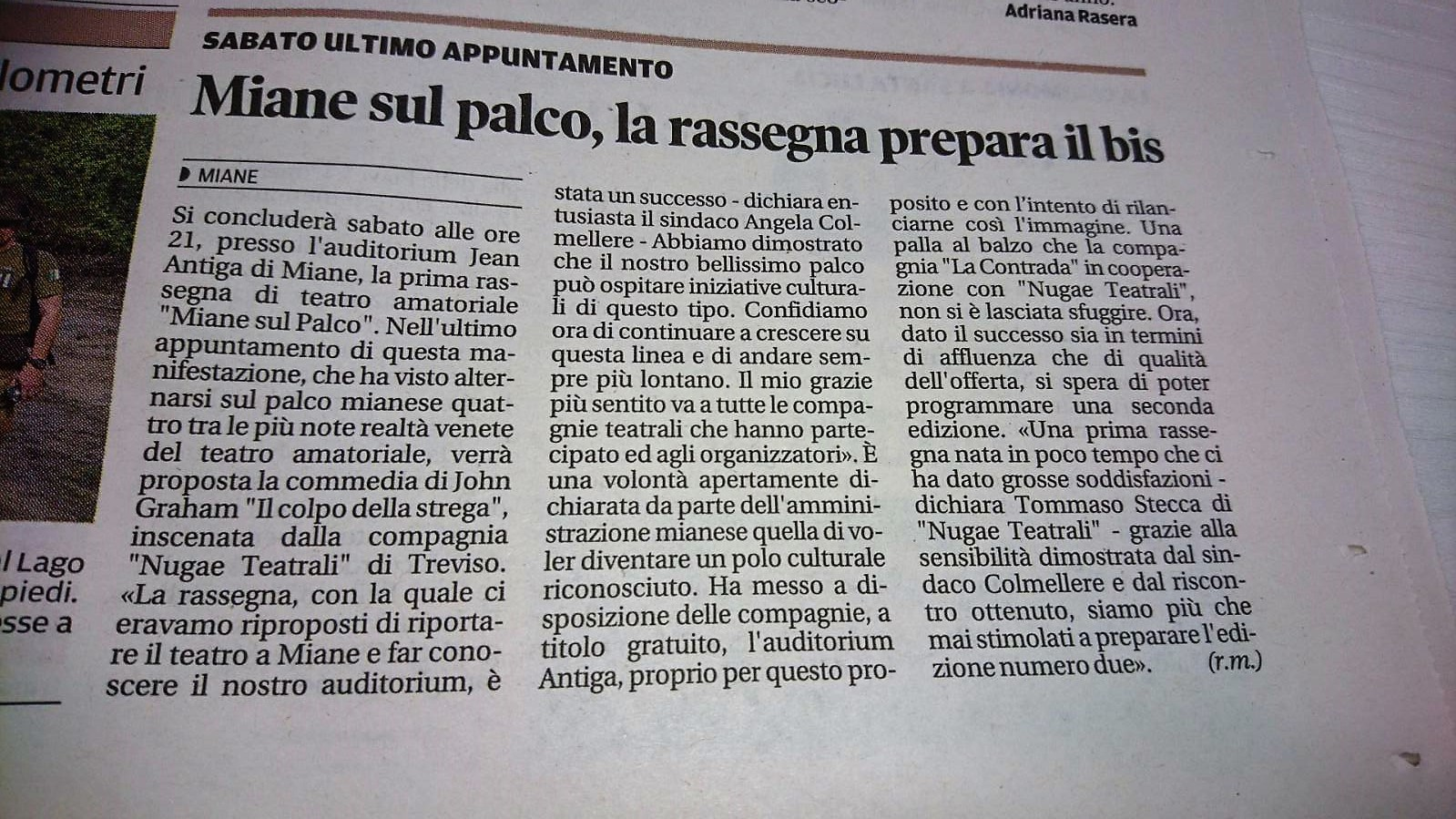 Tribuna di Treviso del 09 maggio 2018 – Rassegna Miane sul Palco!